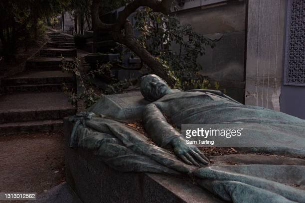 The tomb of French President Félix François Faure at père Lachaise cemetery, on April 17, 2021 in Paris, France. This week the Covid-19 death toll in...