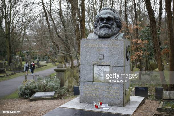 The tomb of German revolutionary philosopher Karl Marx a Grade Ilisted monument with the marble plaque on the front showing damage from recent...