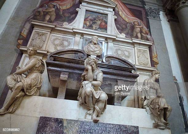 The tomb of influential Renaissance artist Michelangelo at the Basilica of Santa Croce on July 31 2011 in Florence Italy Florence is the capital city...