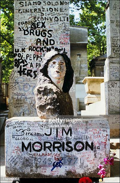 The tomb of Jim Morrison in Paris France in June 1985