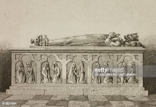 The tomb of Ladislaus I of Poland Wawel Cathedral Krakow Poland engraving by Lemaitre and Vernier from Pologne by Charles Foster L'Univers...