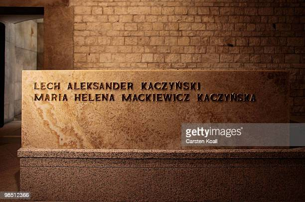 The tomb of late Polish President Lech Kaczynski and his wife Maria in the grotto of the Wawel castle on April 17 2010 in Krakow Poland The president...
