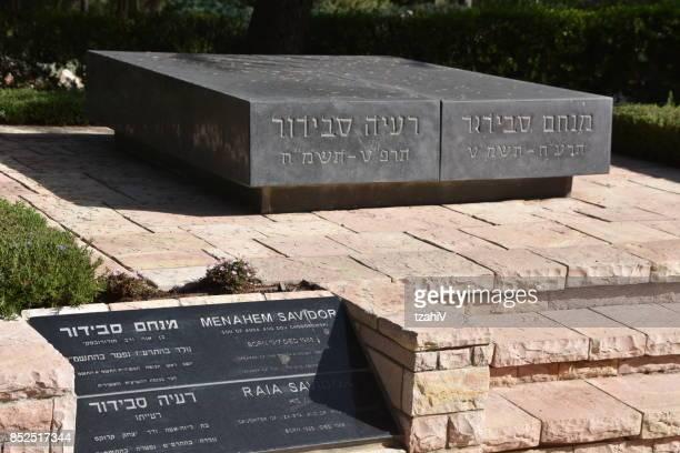the tomb of menachem savidor , jerusalem, israel - mount herzl stock pictures, royalty-free photos & images