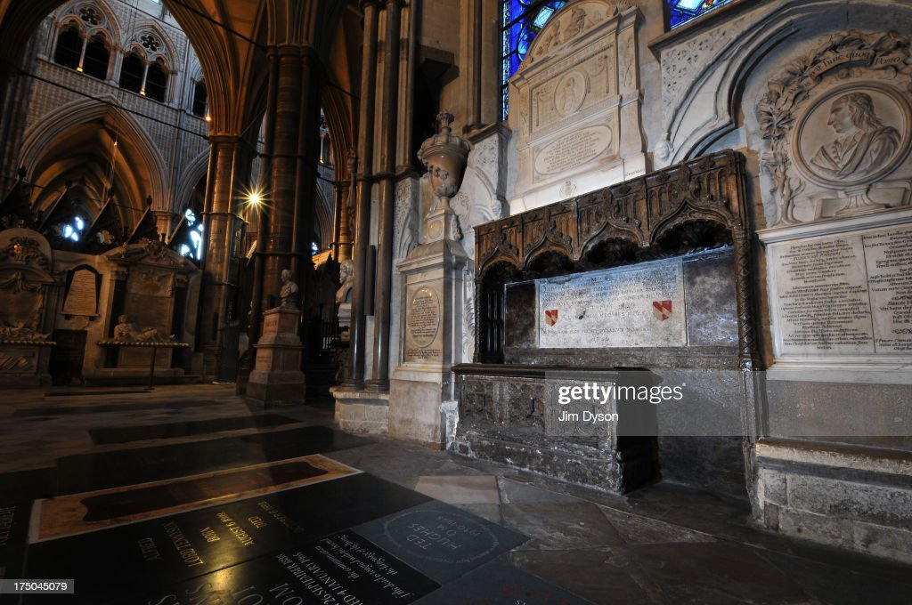 The tomb of poet Geoffrey Chaucer in the south transept of Westminster Abbey, also known as Poet's Corner, on November 29, 2012 in London, England. Dead Famous London is a journey through the capital's cemeteries, churches, cathedrals, crypts and crematoria discovering its historic famous graves.
