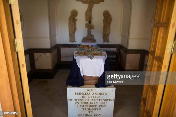 The tomb of Princess Alice of Battenberg inside the Russian Orthodox church of St Mary Magdalene on the Mount of Olives on June 25 2018 in Jerusalem...
