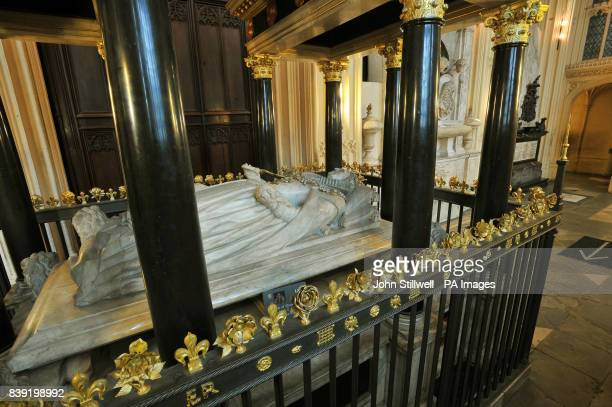 The Tomb of Queen Elizabeth I in Westminster Abbey central London.