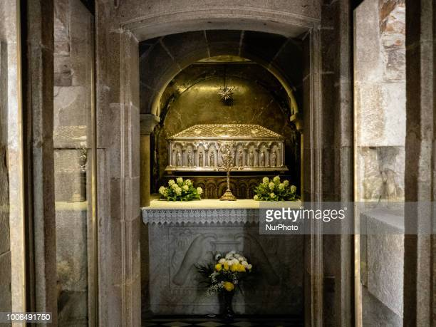 The tomb of St James inside the Cathedral in Santiago de Compostela in Santiago Spain on 25 July 2018 The Camino de Santiago is a large network of...