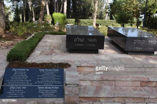 the tomb of teddy kollek , jerusalem, israel - mount herzl stock pictures, royalty-free photos & images
