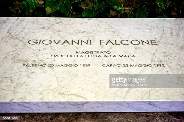 The tomb of the judge Giovanni Falcone killed by the mafia in the Church of Saint Dominic the pantheon of illustrious Sicilians on August 9 2016 in...