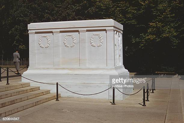 The Tomb of the Unknown Soldier or Tomb of the Unknowns in the Arlington Memorial Amphitheater Arlington National Cemetery Virginia circa 1960