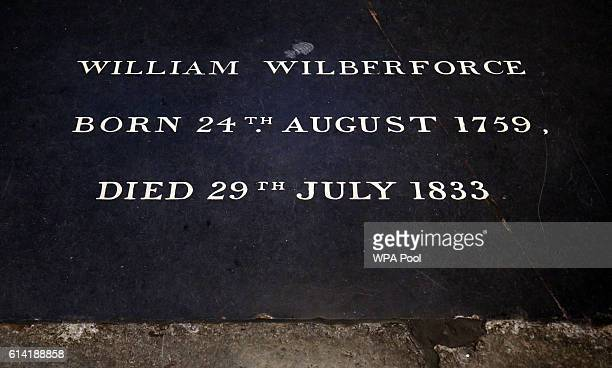 The tomb stone of William Wilberforce is seen during a service to commemorate the work of William Wilberforce and mark the United Kingdom's...