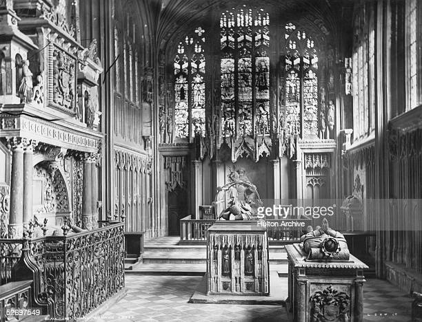 The tombs of Richard Beauchamp Earl of Warwick Robert Dudley Earl of Leicester and his brother Ambrose Dudley Earl of Warwick in Beauchamp Chapel St...