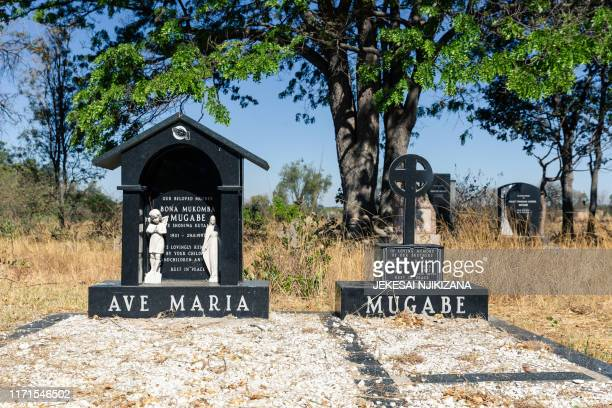 The tombstone of Bona Mugabe mother of the late former Zimbabwean President Robert Mugabe is seen at the Mugabe family burial grounds at a Catholic...