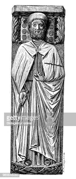 The tombstone of the Landgrave Konrad of Thuringia in the Order dress of the Teutonic Knights, died 1241, in the Church of St. Elizabeth in Marburg,...