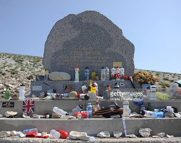 The Tommy Simpson memorial at the top of Mont Ventoux during stage fifteen of the 2013 Tour de France a 2425KM road stage from Givors to Mont Ventoux...