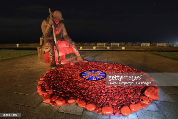 The Tommy War memorial under the stars in Seaham County Durham ahead of the weekend commemorations marking 100 years since the end of the First World...
