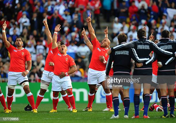 The Tonga team perform the Sipi Tau prior to kickoff during the IRB 2011 Rugby World Cup Pool A match between France and Tonga at Wellington Regional...
