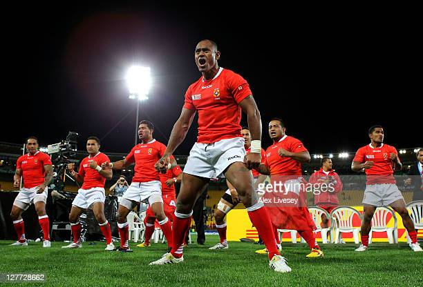 The Tonga team performs the Sipi Tau following their 1419 victory during the IRB 2011 Rugby World Cup Pool A match between France and Tonga at...