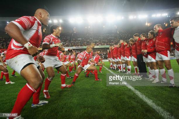 The Tonga team performs the 'Sipitau' prior to kickoff during the Rugby World Cup 2007 Pool A match between England and Tonga at the Parc des Princes...