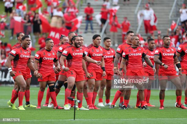 The Tongan Cultural challenge during the 2017 Rugby League World Cup Semi Final match between Tonga and England at Mt Smart Stadium on November 25...