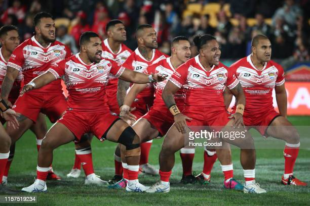 The Tongan team challenge during the Oceania league test between the Kiwis and Mate Ma'a Tonga at Mt Smart Stadium on June 22 2019 in Auckland New...