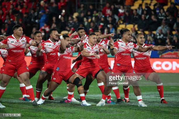 The Tongan team challenge during the Oceania league test between the Kiwis and Mate Ma'a Tonga at Mt Smart Stadium on June 22, 2019 in Auckland, New...