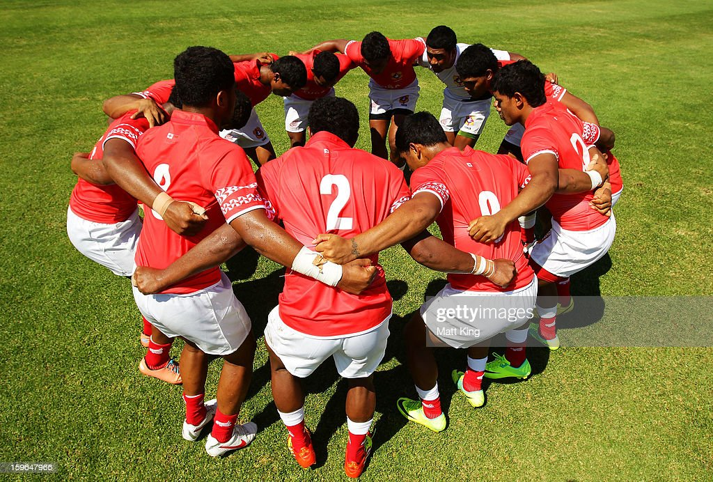 The Tongan team come together to prepare before their match against Australia in the Men's Rugby Sevens during day three of the Australian Youth Olympic Festival at St Ignatius College on January 18, 2013 in Sydney, Australia.