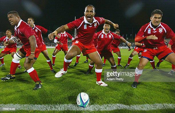 The Tongan team perform their Haka prior to the Rugby World Cup Pool D match between Italy and Tonga at Canberra Stadium October 15, 2003 in...
