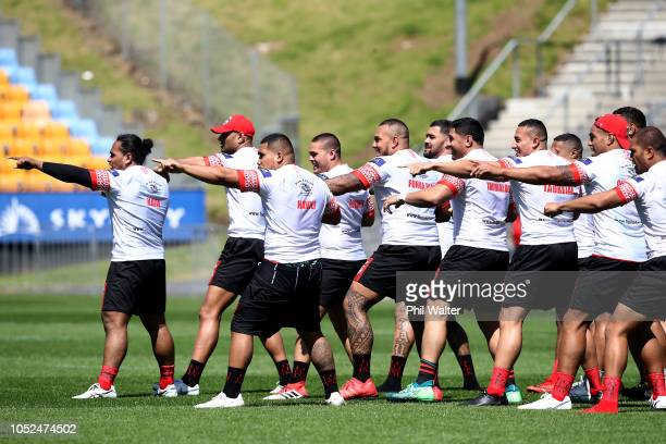 The Tongan team practice the Sipi Tau during the Tonga Captain's Run at Mt Smart Stadium on October 19 2018 in Auckland New Zealand