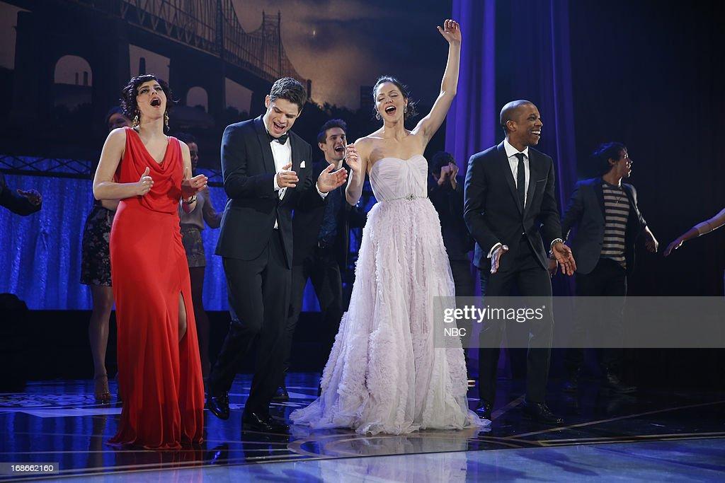 SMASH -- 'The Tonys' Episode 217 -- Pictured: (l-r) Krysta Rodriguez as Ana Vargas, Jeremy Jordan as Jimmy Collins, Katharine McPhee as Karen Cartwright, Leslie Odom Jr. as Sam Strickland --