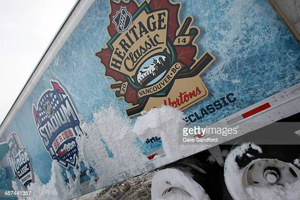 The tool truck covered in snow during the 2014 Bridgestone NHL Winter Classic Buildout on December 17 2013 at Michigan Stadium in Ann Arbour Michigan