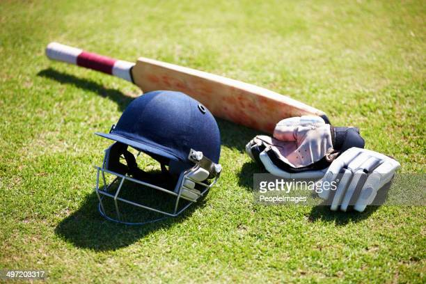 the tools for a batsman - cricket stockfoto's en -beelden