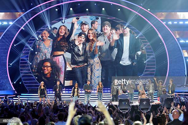 The top 13 contestants perform onstage at FOX's 'American Idol XIII' Top 2 Live Performance Show on May 20 2014 at Nokia Theatre LA Live in Los...