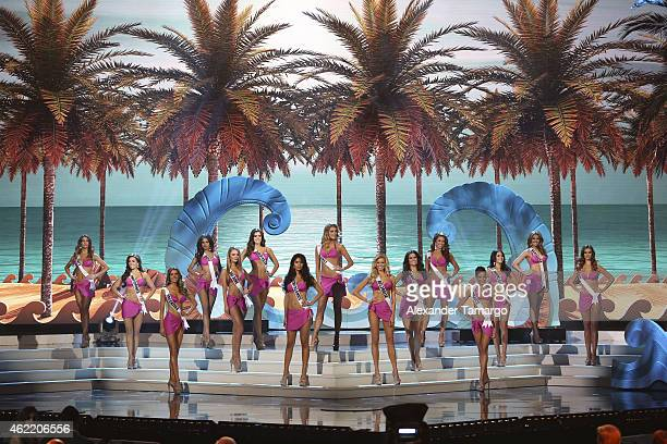 The Top 15 SemiFinalists onstage during The 63rd Annual Miss Universe Pageant at Florida International University on January 25 2015 in Miami Florida
