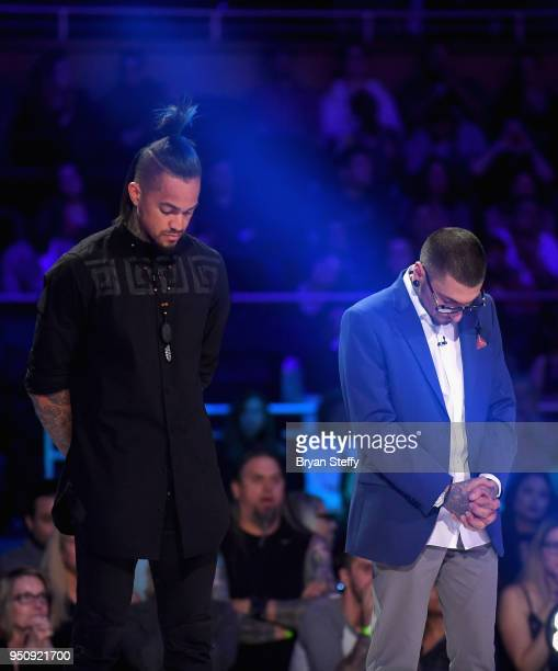 The top 2 Return of the Masters finalists Anthony Michaels and DJ Tambe stand onstage during the Ink Master Season 10 Finale at the Park Theater at...