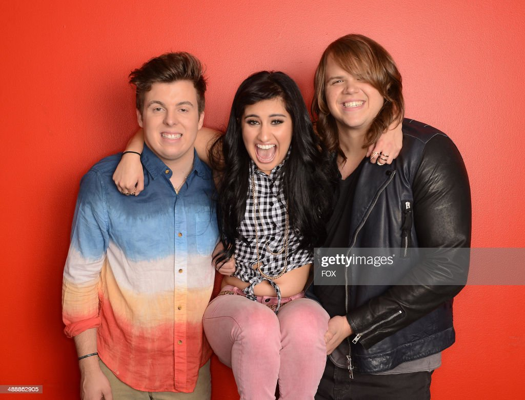 The top 3 contestants Alex Preston, Jena Irene and Caleb Johnson backstage at FOX's 'American Idol XIII' Top 4 To 3 Live Elimination Show on May 7, 2014 in Hollywood, California.