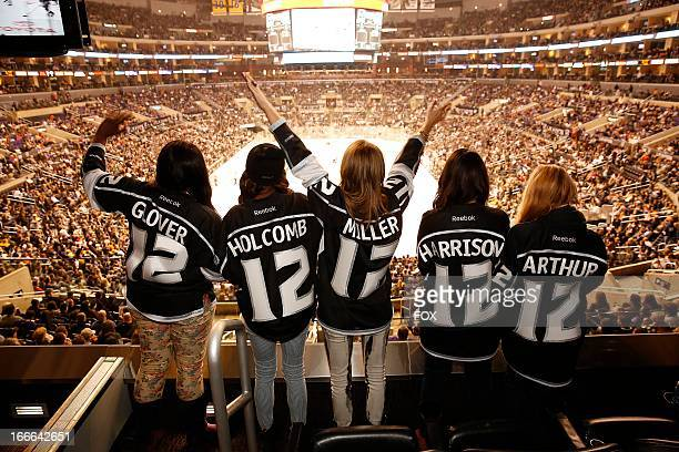The top 5 contestants Candice Glover Amber Holcomb Angie Miller Kree Harrison and Janelle Arthur attend the Los Angeles Kings vs the Anaheim Ducks...