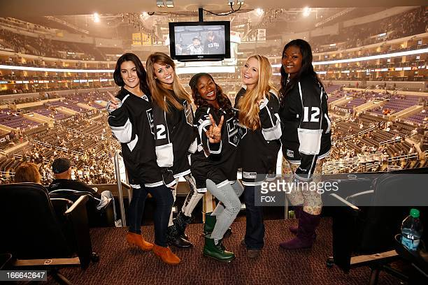 The top 5 contestants Kree Harrison Angie Miller Amber Holcomb Janelle Arthur and Candice Glover attend the Los Angeles Kings vs the Anaheim Ducks...