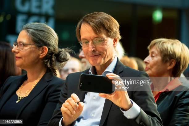 The top candidate for the leadership of German Social Democratic Party Karl Lauterbach attends a debate at the party's headquarters Willy-Brandt-Haus...