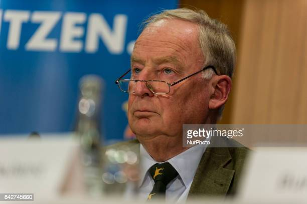 The top candidate of the AfD Alexander Gauland speaks during the press conference in Germany Berlin on 4 September 2017 The AfD will be presenting...