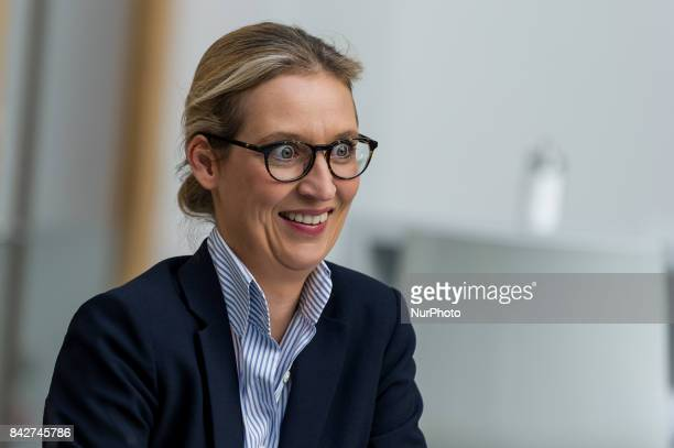 The top candidate of the AfD Alice Weidel is talking to Afd politicians before the press conference in Germany Berlin on 4 September 2017 The AfD...