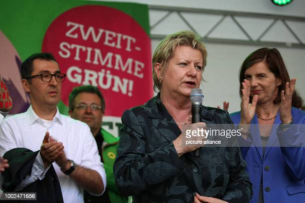 The top candidate of the electoral list of Alliance 90 / The Greens in North RhineWestphalia Sylvia Lohrmann speaks during an election rally next to...