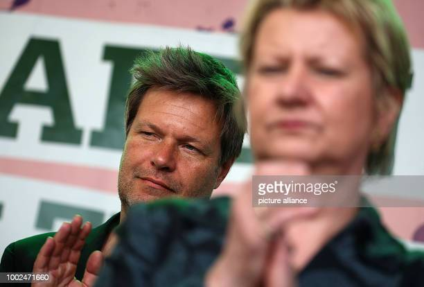 The top candidate of the electoral list of Alliance 90 / The Greens in North RhineWestphalia Sylvia Lohrmann listens to speeches during an election...