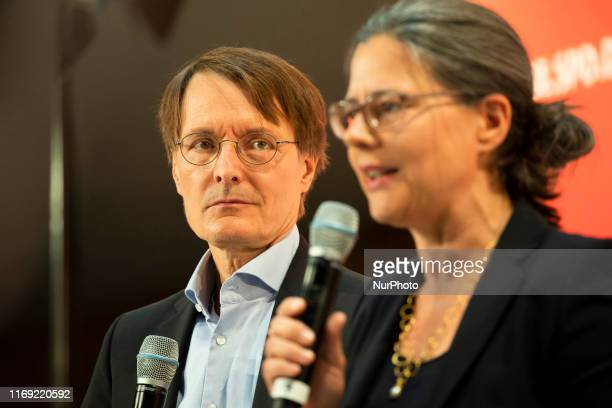 The top candidates for the leadership of German Social Democratic Party Karl Lauterbach and Nina Scheer attend a debate at the party's headquarters...