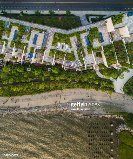 the top directly above view to the modern rooftops with gardens in brooklyn heights, at the waterfront nearby esplanade and brooklyn bridge park - riverbank stock pictures, royalty-free photos & images