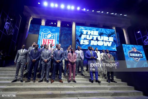 The Top Draft prospects pose on stage prior to the first round of the 2017 NFL Draft at the Philadelphia Museum of Art on April 27 2017 in...