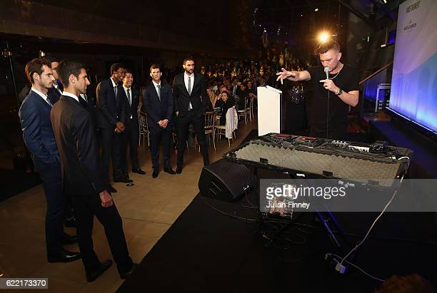 The top eight tennis players watch Thepetebox perform during previews for the Barclays ATP World Tour FInals at the Cutty Sark on November 10 2016 in...