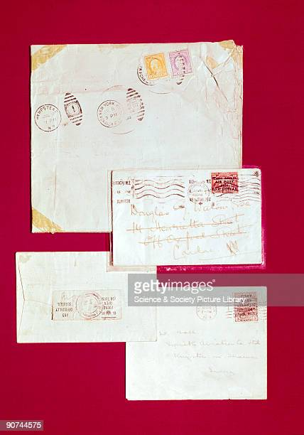 The top envelope was carried in the British airship R34 on her nonstop journey of 75 hours between New York and Pulham in Norfolk The two envelopes...
