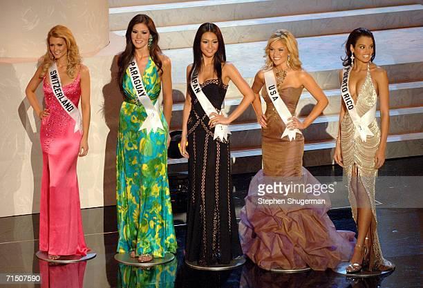 The top five finalist are named: Miss Switzerland Lauriane Gillieron, Miss Paraguay Lourdes Arevalos, Miss Japan Kurara Chibana, Miss USA Tara...