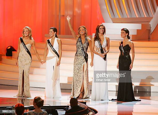 The top five finalists in the 2006 Miss America Pageant stand together on stage at the Aladdin Theatre for the Performing Arts January 21 2006 in Las...